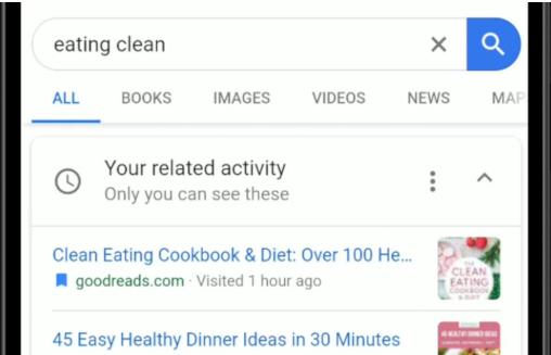 Google搜索活动卡可以继续您过去的搜索