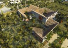 越南的金城社区住宅设有茅草屋顶和幽静的庭院