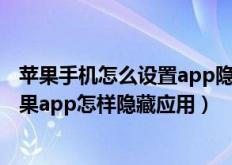 苹果手机怎么设置app隐藏应用(苹果app如何隐藏应用,苹果app怎样隐藏应用)